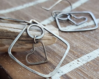 Dangle Heart Earrings, Sterling Silver Antiqued, Square Earrings, Unique Earrings, Love, Long, Rustic, Geometric Earrings