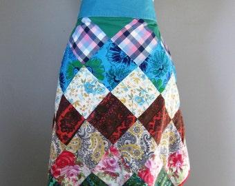 Vintage Apron, Half Apron, Handmade Vintage Apron, Patchwork Apron, Boho Style Apron