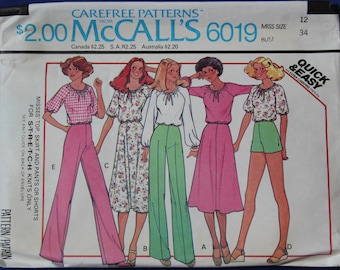 Retro Top, Skirt, Pants, Shorts 1970s Vintage Sewing Pattern MCCALL'S 6019, UNCUT, Bust 34