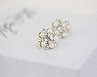 Pearl Stud Bridal Earrings Gold Wedding Earrings Pearl Crystal Stud earrings Small Gold Post Earrings Wedding Jewelry PARIS STUD EARRINGS