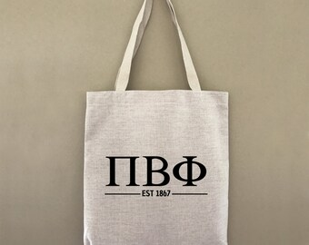 Pi Beta Phi Est 1867 Greek Letters Tote Bag Sorority Greek Life Gift For Her Sorority Sister Welcome Tote Bid Day