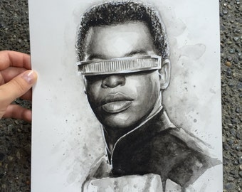 Geordi Art Geordi Portrait Star Trek Art ORIGINAL Watercolor Painting Geordi La Forge Portrait Sci Fi Art Illustration 9x12