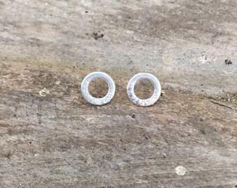 Circa Stud Earrings, Sterling Silver Circle Stud Earrings