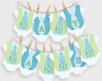 printable baby shower decorations banner - alphabet one piece and ties - blue, green, baby boy shower decor, diy download, its a boy sign