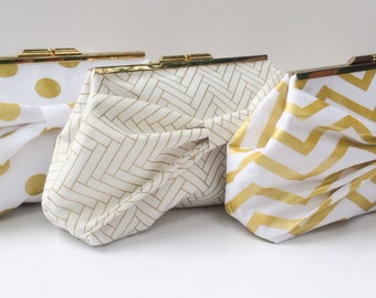 White and Gold Bow Clutches