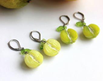 A pair of Lemon or Lime Earrings, stainless steel