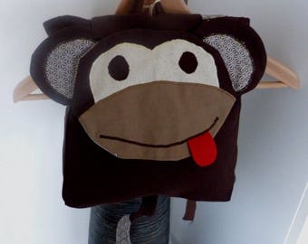 Backpack mother monkey, adjustable straps.