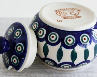 Polish Pottery Sugar Bowl - Hand Painted - Blue and White Ceramic