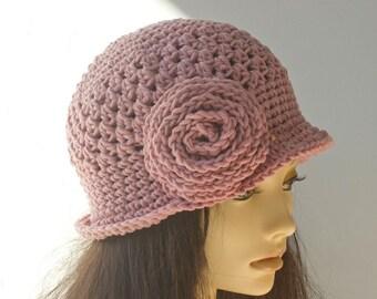 Flower Hat Crochet Pattern, Instant Download, Rose Flower Cloche Hat PDF Pattern