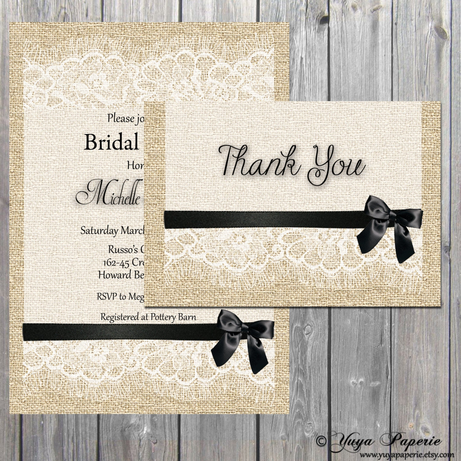 Invitation and Thank you Card set Burlap Lace Rustic Bridal Shower ...