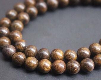 Bronzite beads-natural round beads,15'' per strand 4mm 6mm 8mm 10mm 12mm