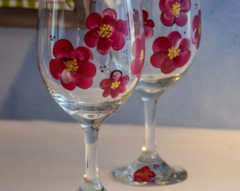 Hand Painted Floral Wine Glass