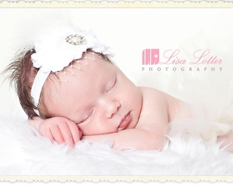 Baby Girl White HeadBand..Birdcage..Feathers..Pearls..White Christening Headband..White Baptism Headband..Baby Girl White Flower Headband