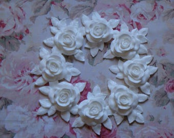New! Shabby Chic XLG Carved Rose & Leaf  Wreath Pediment Furniture Applique Architectural