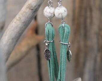 Sage Green Suede Tassel Earrings with Silver Feather