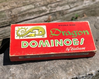 Vintage Mid Century Wooden Domines Game / Doubke nine Dragon Dominoes by Halsam