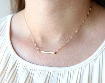 Short Horizontal Gold Filled Bar Blank Necklace // Sterling Silver, 14K Gold Filled // Modern Layering Delicate Necklace