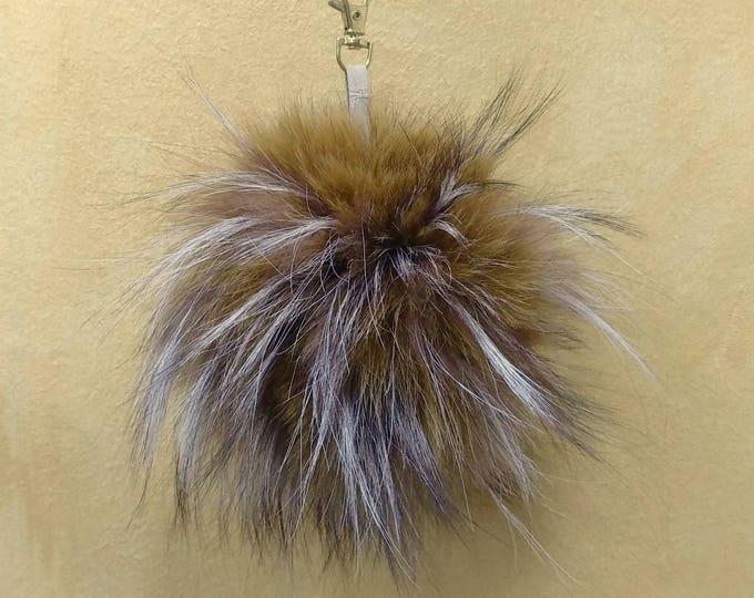 Fox Fur Pom Pom, Bag Pom Pom,Fur keychain F625