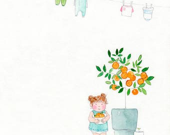 Orange You Cute - Giclée Watercolor Print for Children's Bedroom Decor