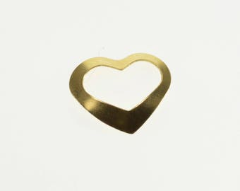 14k High Relief Heart Cut Out Charm/Pendant Gold