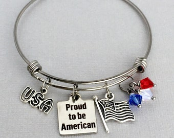 Patriotic Bracelet, 4th of July Bangle, Proud to be American, USA Pride, Independence Day, Patriotic Jewelry, Red White and Blue