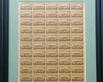 Princeton University Framed Vintage Commemorative Mint Stamp Sheet