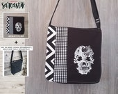 Skull embroidery Bag flap...