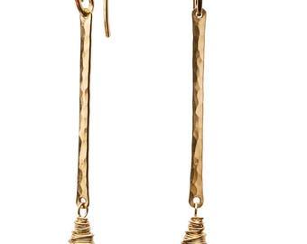 White opal earrings elegant fire opal wedding earrings Ethiopian white Welo opal earring 14K gold opal bar earring gift for her fine jewelry