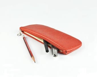 PU Leather Pencil Case, Pen Bag, Toiletry Storage, Travel Bag, Red