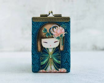 Japanese doll credit card case, womens card holder wallet, fabric business card wsllet, kiss lock purse, card organizer, unique gift for her