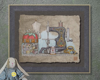 Nostalgic Hand Sewing Machine Art Whimsical yesteryear print adds Americana art to sewing room wall decor as 8x10 or 13x19 sewing print