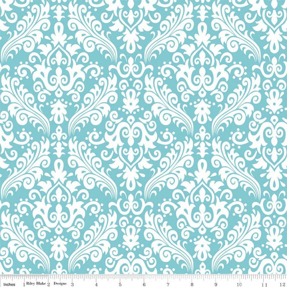 Damask Basics Riley Blake Aqua BTY by the yard