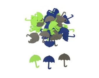 100 Assorted Blue Green and Grey Umbrella Confetti, Die Cut Umbrella, Baby Shower, Wedding Shower, Table Décor, Shower Supply,table confetti