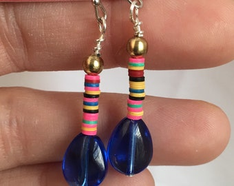 Blue teardrop & African trade bead dangles - proceeds benefit Avela!
