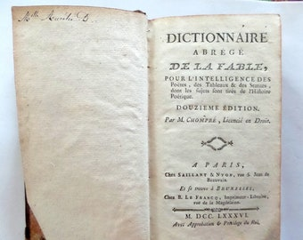 """Antique 1776  French Book. """"Abridged Dictionary of the Fable"""" . Antique French Mythology Book."""