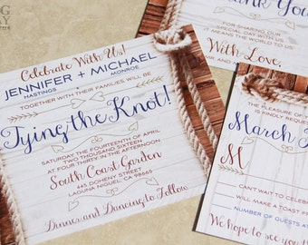 Tying the Knot Wedding Invitations,Rustic rope and knot wedding invitations,We're Tying the Knot,wood and rope,rustic knot,playful,western