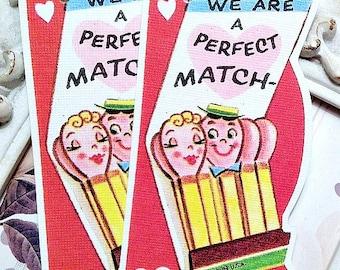 Perfect Match Valentine Tags (6) Retro Valentine-School Valentine-Favor Tags-Treat Bag Tags-Classroom Valentine-Valentine Die Cut