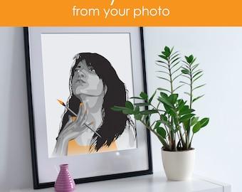 Digital portrait, Digital Illustration, Portrait Illustration, Digital photo, Portrait from photo, Photo illustration, Custom portrait, Gift
