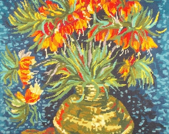 """Completed Needlepoint """"Les Fritillaires"""" by Van Gogh. Beautifully Hand Sewn.  (8426s)"""