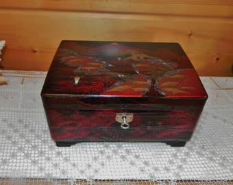 Japanese Music Jewelry Box- Black Lacquer, Hand Painted, Inlay