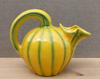 luscious vintage french ceramic melon pitcher, Longchamp France, early 20th century barbotine, majolica ware, summer table, yellow and green