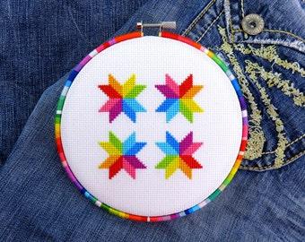 Easy Cross Stitch Pattern, Simple Cross Stitch, Rainbow Cross Stitch, Geometric Cross Stitch, Colorful Cross Stitch, Fun Cross Stitch, Star