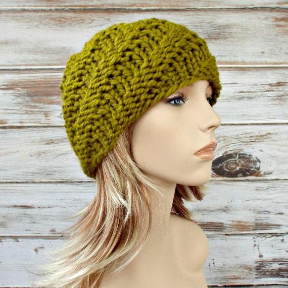Lemongrass Green Knit Beanie Chunky Knit Hat Green Womens Hat - Swirl Beanie - Green Hat Green Beanie Womens Accessories Winter Hat