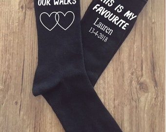 Father of the Bride, Favourite walk personalized wedding gift, father of bride gift from bride to be, personalised wedding socks, groomsmen