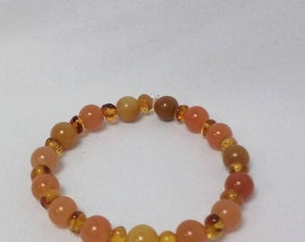 Authentic Amber Beads and Carnelian Beads Stretch Bracelet