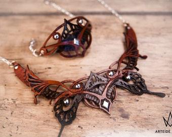 Parure bijoux cuir argent collier bracelet boucles d'oreille Orange patiné Monarque