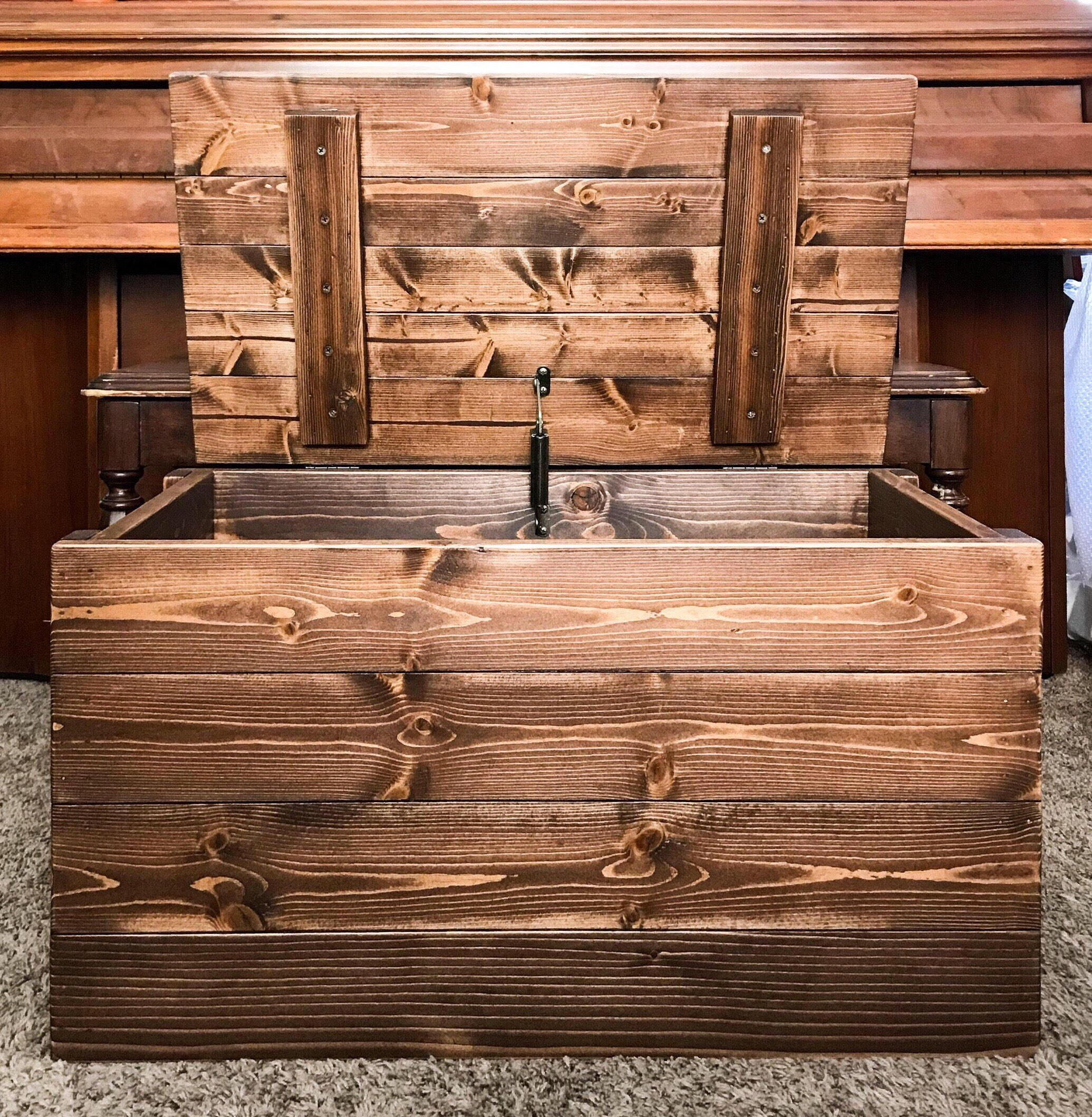 & Rustic Wood Storage Trunk Blanket Chest Square Stock Wood Dark Walnut