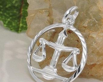 Zodiac pendant, scale, silver 925