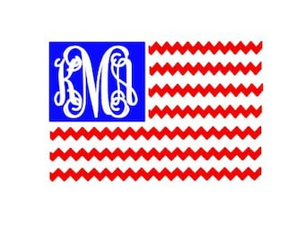 Chevron American Flag cut file digital download for cutting machines - SVG DXF EPS ps Studio3 Studio (monogram font sold separately)