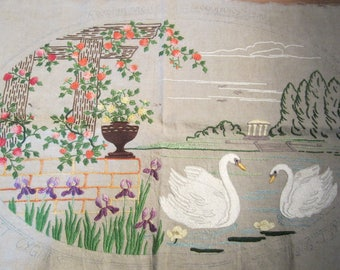 Antique French art nouveau cushion cover, hand embroidered pillow case, adorable design with swans, ca 1900, French textile